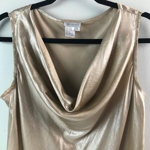 Worth 100% Silk Cowl-neck Sleeveless Gold Blouse